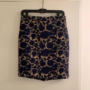 J. Crew royal blue and gold skirt